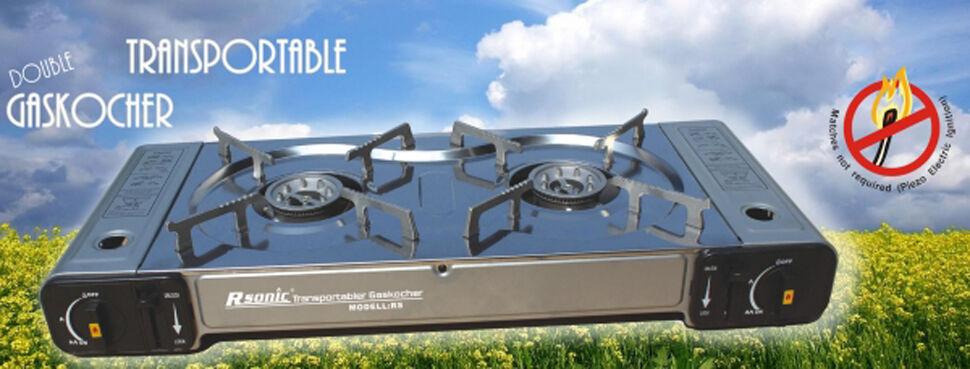 Doppel Gaskocher Campingkocher Edelstahl BBQ + + + Gaskartuschen + Grillplatte NEU 96d707
