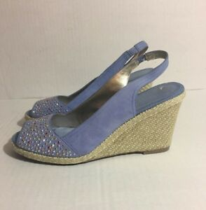 Anne-Klein-Shoes-Wedge-Peep-Toe-Akstayput-Embellished-Studs-Blue-Suede-Size-9-5M