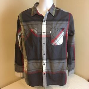Levis-Mens-Shirt-Small-Long-Sleeve-Gray-Red-White-Plaid-Free-Shipping