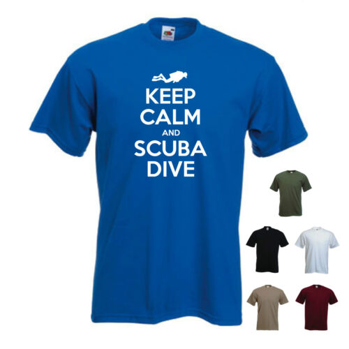S-XXL /'Keep Calm and Scuba Dive/' Diving Pool Tank Mens Funny T-shirt Tee Gift