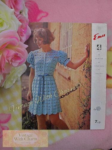"NO UK P/&P Vintage Crochet Pattern Lady/'s /""Shirtwaister/"" Dress JUST £2.29"