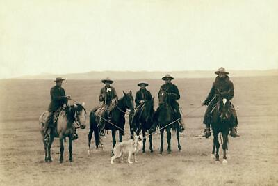Cowboys Roping a Gray Wolf Wyoming .. Antique Photo .. Photo Print 8x12