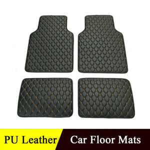 Car-Truck-Front-Rear-PU-leather-Carpet-Universal-Floor-Mats-Black-Beige-Line