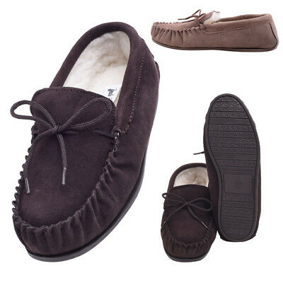 Mens Ladies Genuine Luxury Sheepskin Suede Lambswool Moccasin Slippers Hard Sole Im Sommer KüHl Und Im Winter Warm
