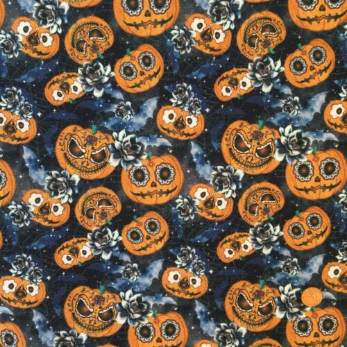 Azul 100/% tela de algodón por 1//2 metro//FQ Halloween Calabazas