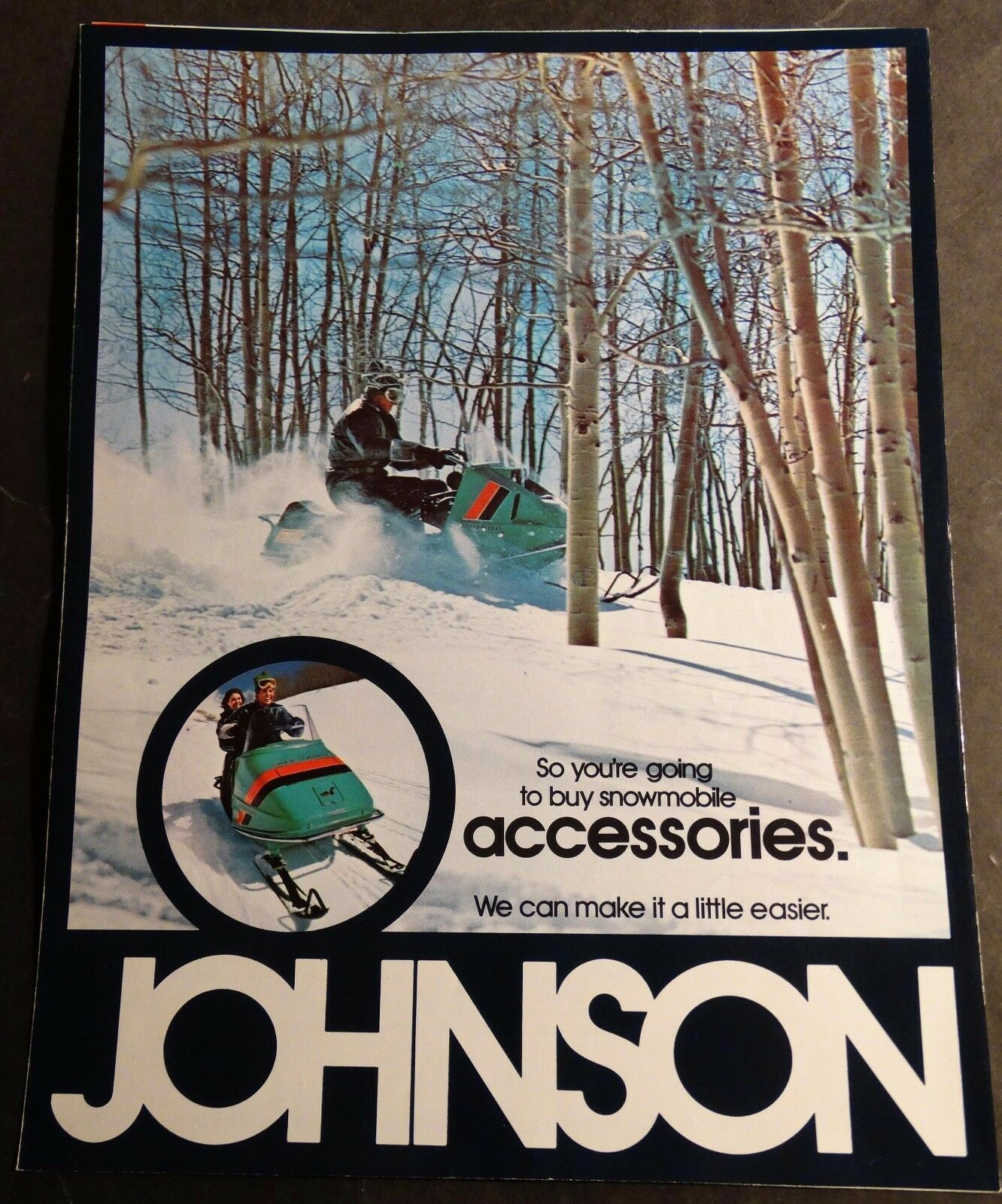 1972 JOHNSON SNOWMOBILE ACCESSORIES SALES BROCHURE 6 PAGES  (885)