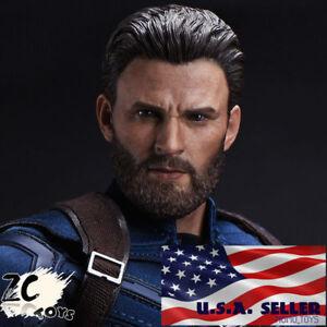 1//6 Chris Evans Captain America Head Sculpt For TBLeague Hot Toys Figure U.S.A.