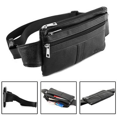 Thin Men's Leather Waist Bum Sling Bag Fanny Packs Travel Sport Work Backpack