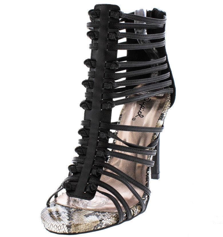 Snake Skin Print Caged Booties Gladiator High Heels Stilettos Platform Pumps H57