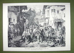 TYROL-Peasant-Revolt-of-1809-Marching-Peasants-Pitchforks-VICTORIAN-Era-Print