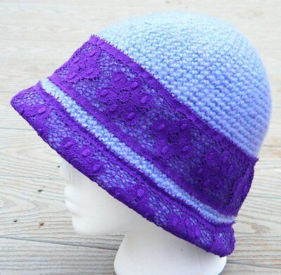 Graceful Light Violet and Dark Violet Lace Medium Cloche - Handmade by Michaela