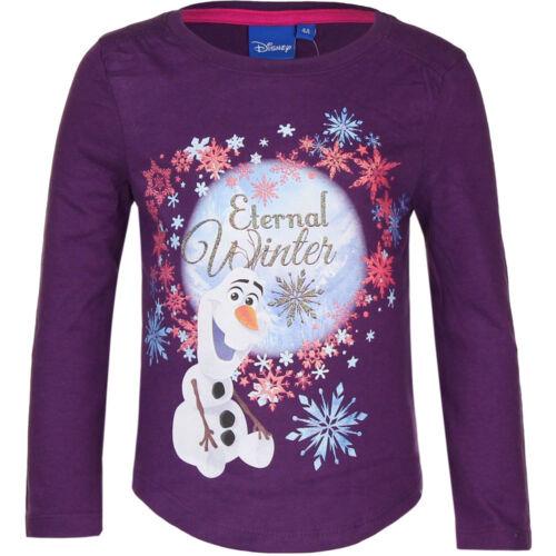 Top Shirt langarm Oberteil Mädchen Frozen Eiskönigin rosa lila beige 104-128 #99