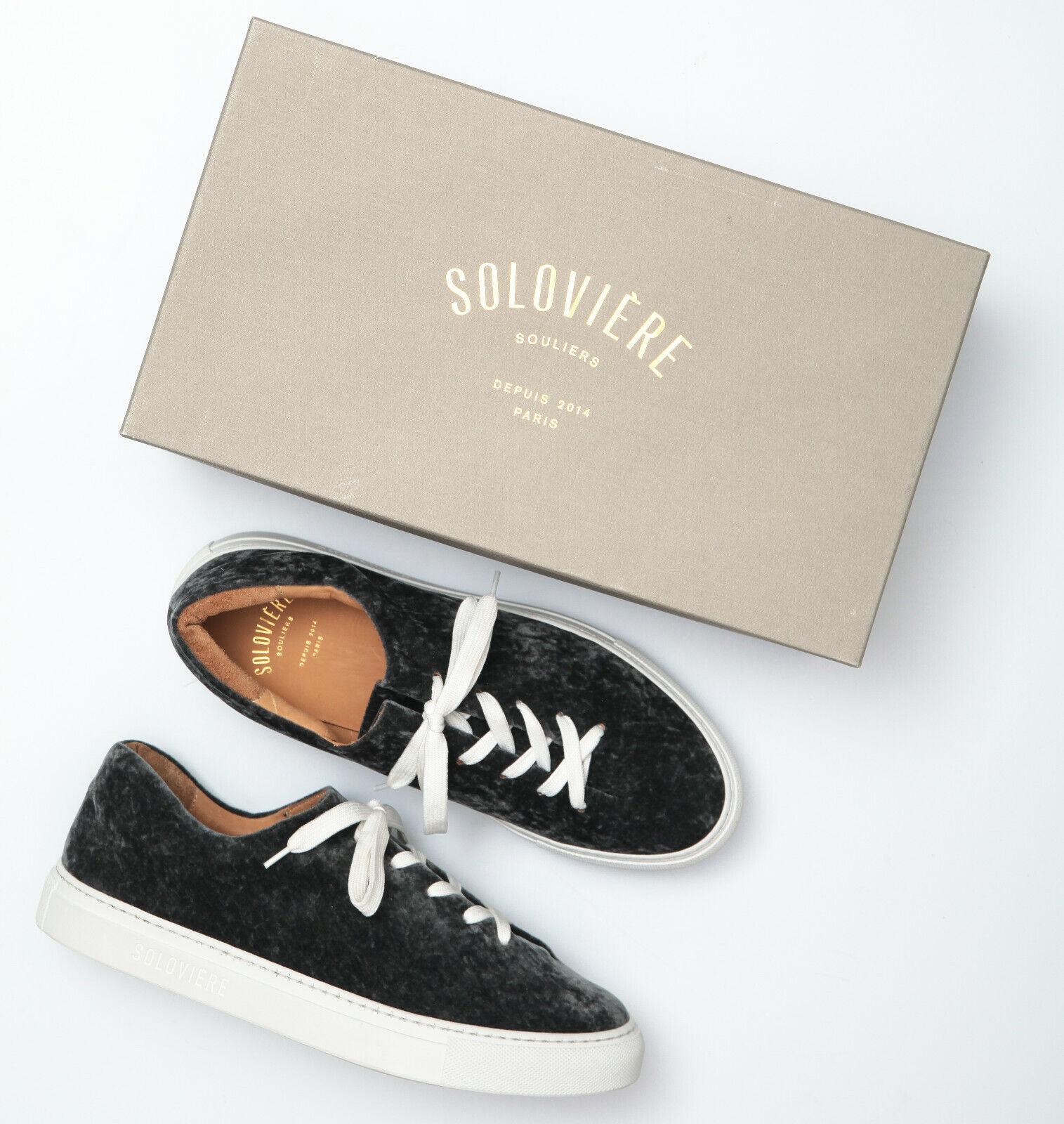 Solovier Herve  En Ville Moire grigio Velvet scarpe da ginnastica - Dimensione 40 EU  produttori fornitura diretta