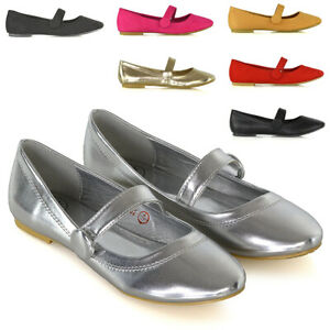 Womens-Ballerina-Dolly-Shoes-Ladies-Flat-Strap-Button-Slip-On-Ballet-Pumps-Size