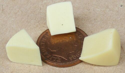 1:12 Scale 3 Cheddar Cheese Slices Tumdee Dolls House Miniature Food Accessory