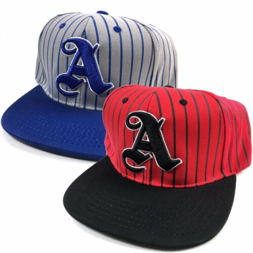 Letter A Strip Black Navy Embroidered Flat Snapback Snap Hat Cap Bill One Size