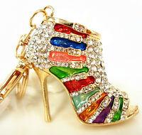 M Shoe High Heel Multicolour Charm Pendant Crystal Purse Bag Keyring Key Chain G