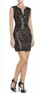 NEW-BCBG-MAX-AZRIA-BLACK-COMBO-KAYA-BURN-OUT-SEQUINS-UFG6V400-DRESS-SIZE-12P
