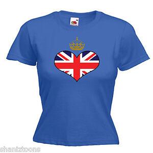 18bff3c1 Royal Crown Union Jack Heart Flag Ladies Lady Fit T Shirt 13 Colours ...