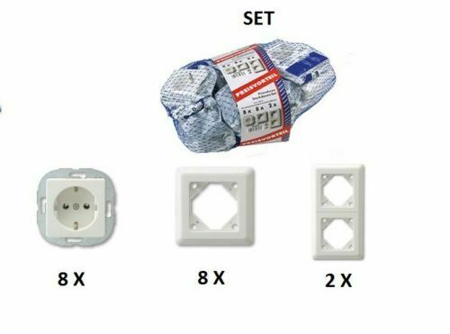REV Düwi Primaluxe Steckdosen Rahmen Set weiß  8 Steckdose + 10 Rahmen