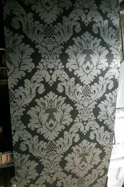 Arthouse Da Vinci Black Silver Damask Wallpaper 405107 For Sale