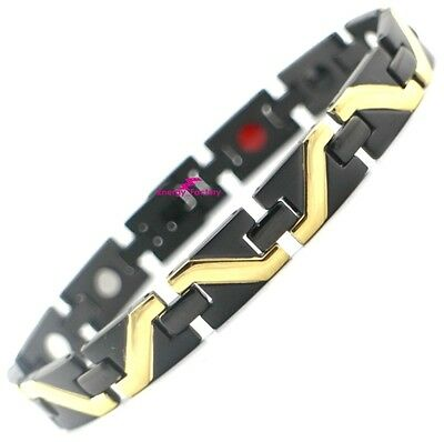 Black & Gold Magnetic Bracelet UNISEX 4in1 health healing energy wristband