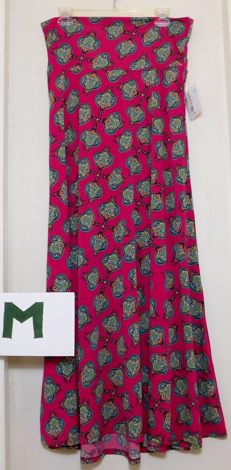 LuLaRoe Maxi M Pink with Green, Teal