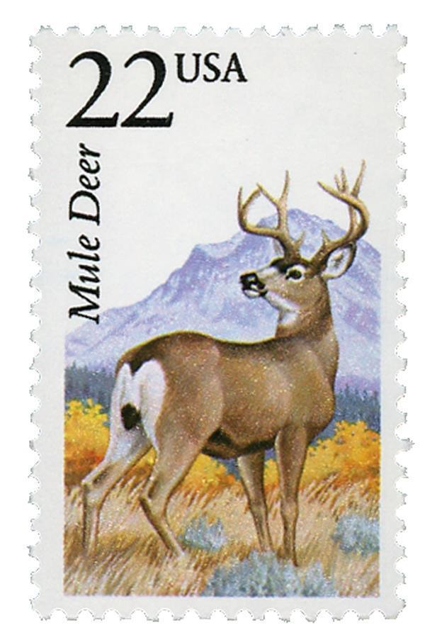 1987 22c Mule Deer, North American Wildlife Scott 2294