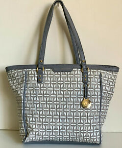 NEW-TOMMY-HILFIGER-GRAY-OFF-WHITE-SHOPPER-SATCHEL-TOTE-BAG-PURSE-89-SALE