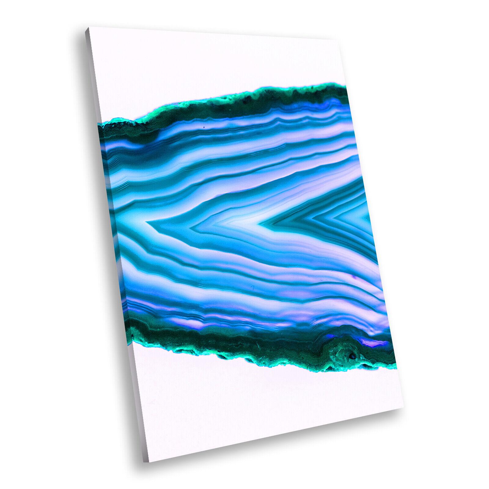 Blau Grün Weiß Portrait Abstract Canvas Framed Art Large Picture