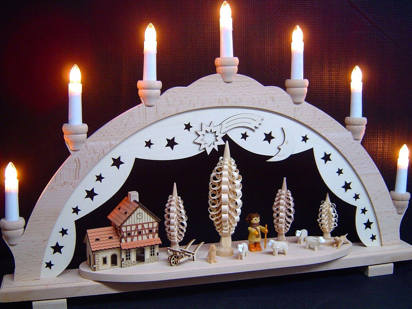 Massif Arc Arc Lumineux 3D Berger berger avec mouton 7 à flammes 10140