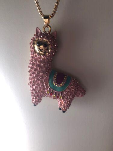 Betsey Johnson Necklace Pink Alpaca Gold Enamel  Crystals Gift Box Adorable LK