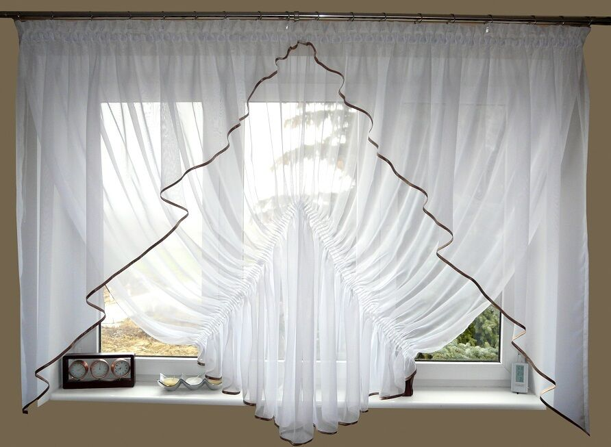 Ag20 finito moderna tenda da voile Set Bella Tenda Bianco Marronee finestra