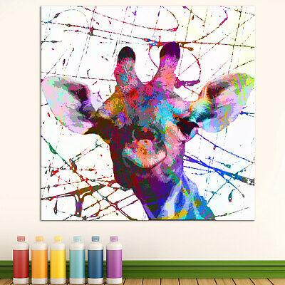 Tiere Giraffen Bunt Farbe Lustig Bild Leinwand Abstrakte Bilder Wandbilder D2083