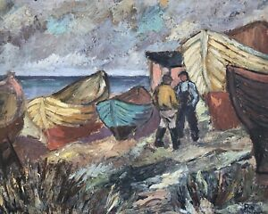 Expressionist-Rut-Nilsson-1926-Men-At-Sea-Fishing-Boats-at-the-Beach-Sweden
