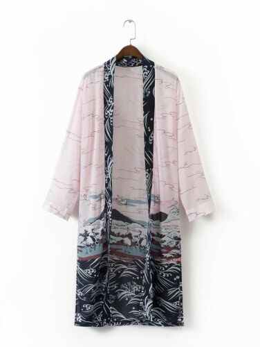 Japanese Lady Crane Print Silk Cardigan Kimono Yukata Sunscreen Beach Top Coat