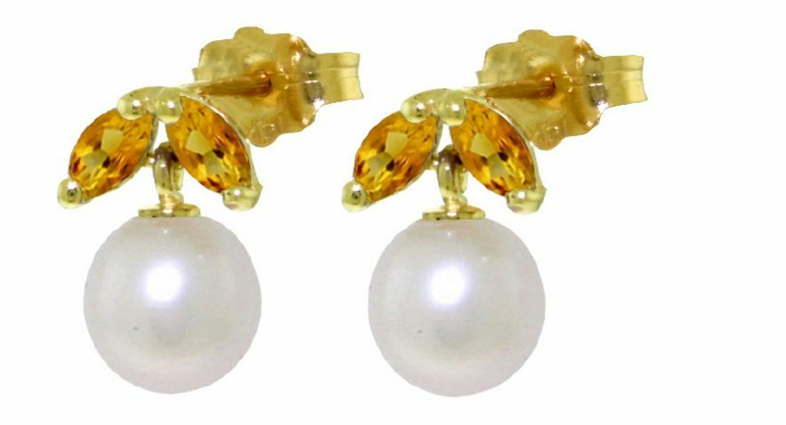 14K Solid Yellow gold Pearl Stud Earrings with Citrines Stone, Stud Style