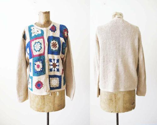 Vintage 90s Crochet Cardigan S M - Granny Square … - image 1