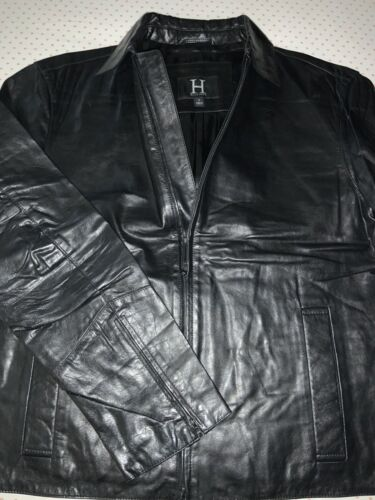 Mens Coach Casual Leather Jacket Size Large