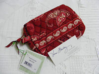 Vera Bradley Mesa Red Small Cosmetic Jewelry Makeup 4 Purse Backpack Tote