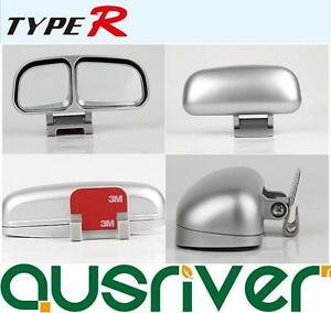 Genuine Type R Silver External Blind Spot Add-on-top Dual Upper Mirror Set of 2