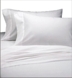 3 NEW WHITE PREMIUM QUALITY RICH COTTON FULL SIZE FLAT SHEET T180 LINEN PERCALE