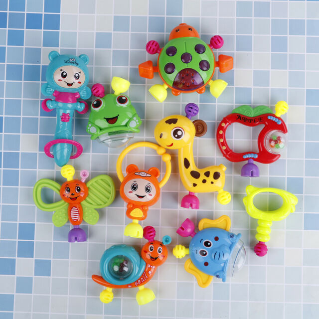 Plastic hand jingle shaking bell rattle toddler music toy for baby newborn O YA