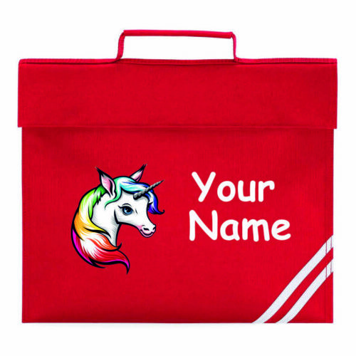 Personalised Unicorn school  Book Bag Reading Library Folder homework xmas gift