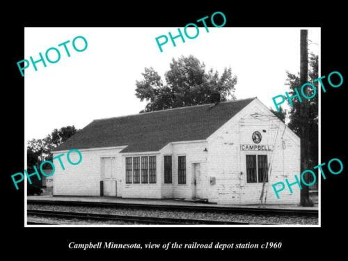 OLD 6 X 4 HISTORIC PHOTO OF CAMPBELL MINNESOTA, THE RAILROAD DEPOT STATION c1960