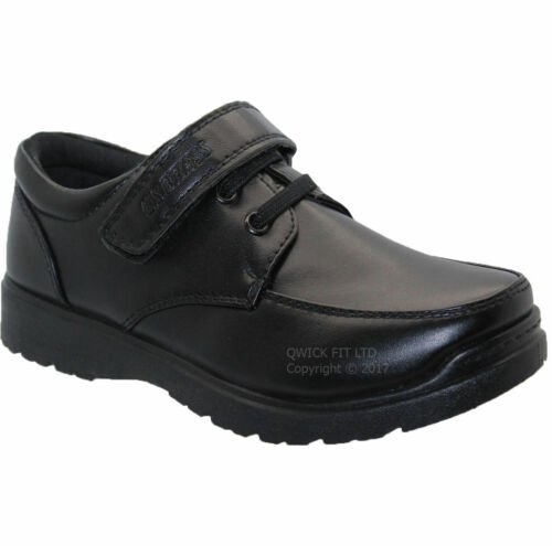NEW BOYS BLACK SCHOOL SHOES CASUAL WEDDING SMART STRAP FORMAL SHOES UK SIZES 8-2