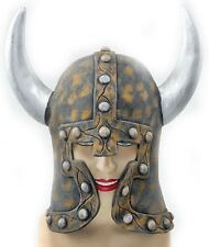 ADULT VIKING WARRIOR LATEX RUBBER HELMET WITH HORNS LARP FANCY DRESS COSTUME HAT