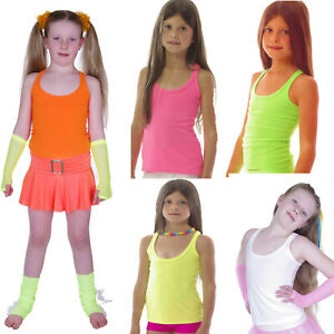 NEON-TUTU-STRAPPY-SLEEVELESS-VEST-TOP-80-039-S-FANCY-DRESS-PARTY-GIRLS-AGE-4-12