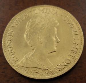 Netherlands-1917-Gold-10-Gulden-UNC