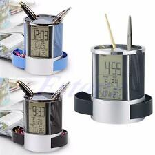 New Office Digital LCD Desk Mesh Pen Pencil Holder Time Temp Calendar